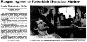 Mitch Snyder's successful hunger strike in 1984 propelled him to become an iconic figure in the movement to end homelessness.  Image used under the Fair Use provisions of the copyright law.